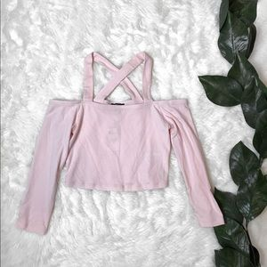 NWT Express Pink Long sleeve Crop Top X Design